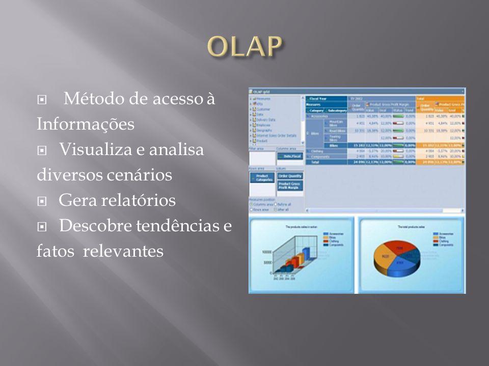  Método de acesso à Informações  Visualiza e analisa diversos cenários  Gera relatórios  Descobre tendências e fatos relevantes