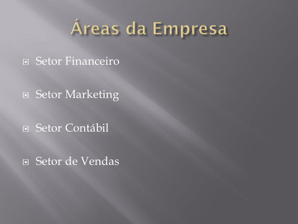  Setor Financeiro  Setor Marketing  Setor Contábil  Setor de Vendas