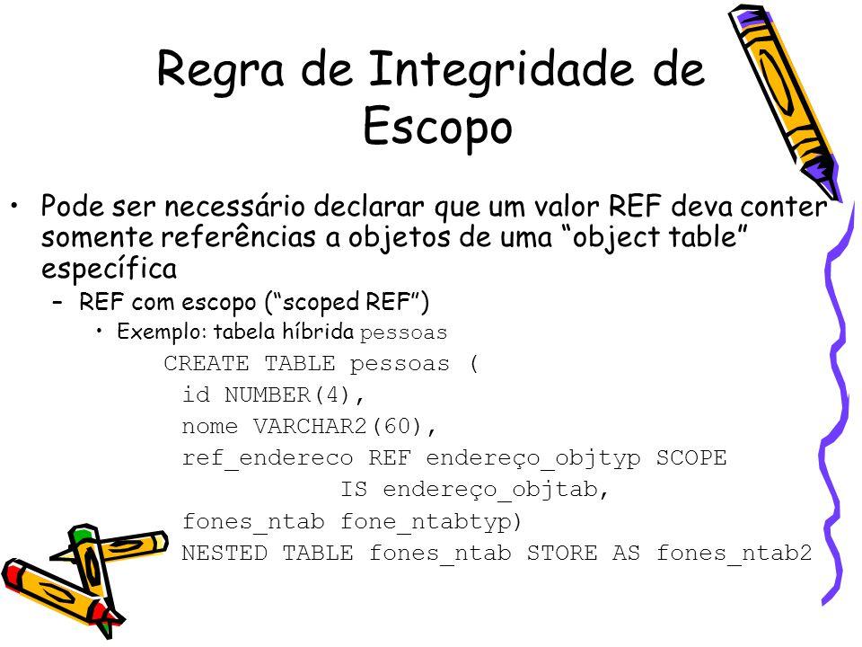 Regra de Integridade de Escopo Pode ser necessário declarar que um valor REF deva conter somente referências a objetos de uma object table específica –REF com escopo ( scoped REF ) Exemplo: tabela híbrida pessoas CREATE TABLE pessoas ( id NUMBER(4), nome VARCHAR2(60), ref_endereco REF endereço_objtyp SCOPE IS endereço_objtab, fones_ntab fone_ntabtyp) NESTED TABLE fones_ntab STORE AS fones_ntab2