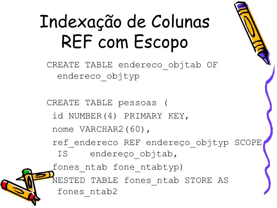 Indexação de Colunas REF com Escopo CREATE TABLE endereco_objtab OF endereco_objtyp CREATE TABLE pessoas ( id NUMBER(4) PRIMARY KEY, nome VARCHAR2(60), ref_endereco REF endereço_objtyp SCOPE IS endereço_objtab, fones_ntab fone_ntabtyp) NESTED TABLE fones_ntab STORE AS fones_ntab2