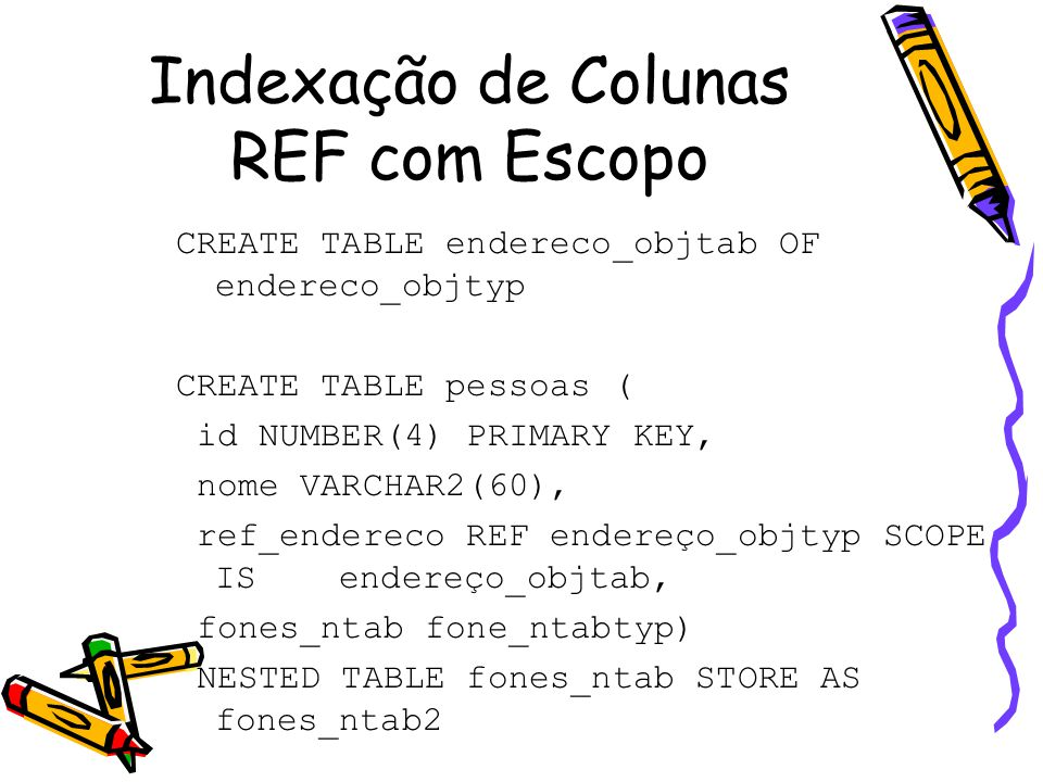 CREATE INDEX endereco_ref_ind ON pessoas (ref_endereco) SELECT id FROM pessoas p WHERE p.ref_endereco.estado = 'PB'