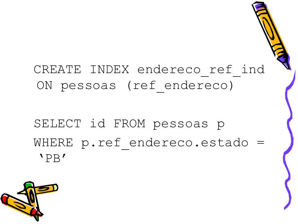 REF IS ROWID Restrições de uso –A RI pode ser usada com REF com escopo –Nem com REF com regra de integridade referencial –Nem com REF baseado em chave primária