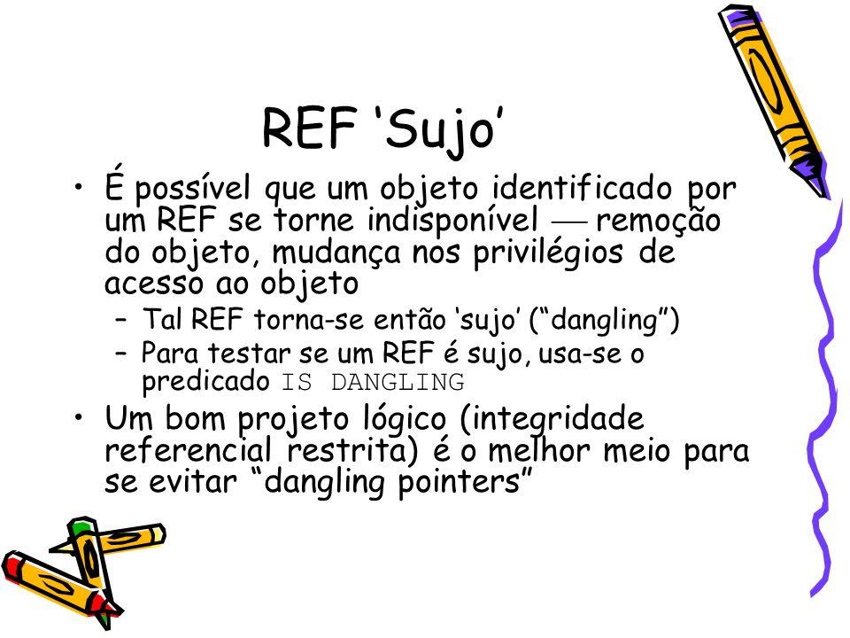 REF 'Sujo' É possível que um objeto identificado por um REF se torne indisponível  remoção do objeto, mudança nos privilégios de acesso ao objeto –Tal REF torna-se então 'sujo' ( dangling ) –Para testar se um REF é sujo, usa-se o predicado IS DANGLING Um bom projeto lógico (integridade referencial restrita) é o melhor meio para se evitar dangling pointers