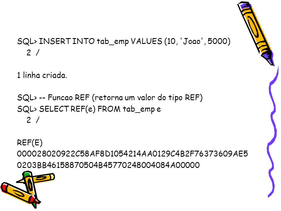 SQL> INSERT INTO tab_emp VALUES (10, Joao , 5000) 2 / 1 linha criada.