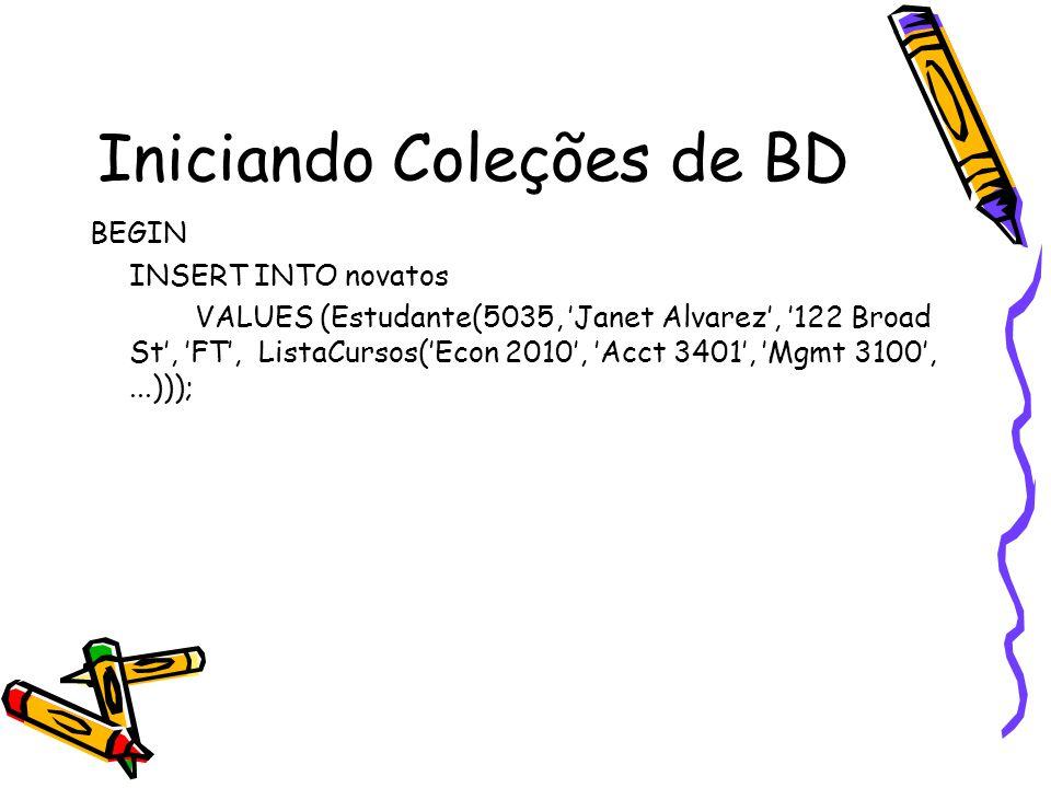 Iniciando Coleções de BD BEGIN INSERT INTO novatos VALUES (Estudante(5035, 'Janet Alvarez', '122 Broad St', 'FT', ListaCursos('Econ 2010', 'Acct 3401', 'Mgmt 3100',...)));