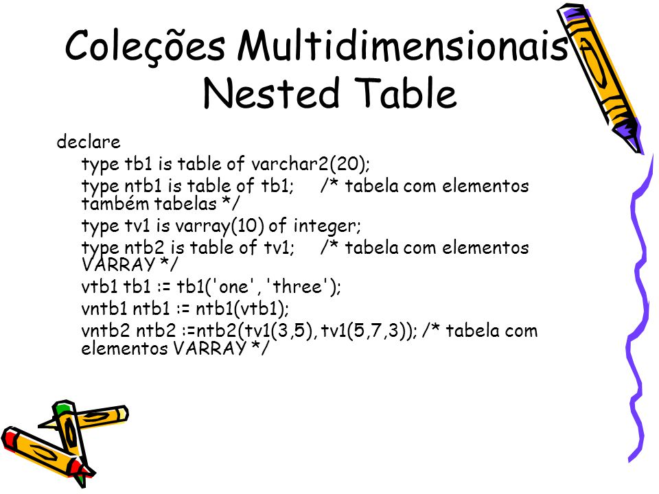 Coleções Multidimensionais - Nested Table declare type tb1 is table of varchar2(20); type ntb1 is table of tb1; /* tabela com elementos também tabelas */ type tv1 is varray(10) of integer; type ntb2 is table of tv1; /* tabela com elementos VARRAY */ vtb1 tb1 := tb1( one , three ); vntb1 ntb1 := ntb1(vtb1); vntb2 ntb2 :=ntb2(tv1(3,5), tv1(5,7,3)); /* tabela com elementos VARRAY */