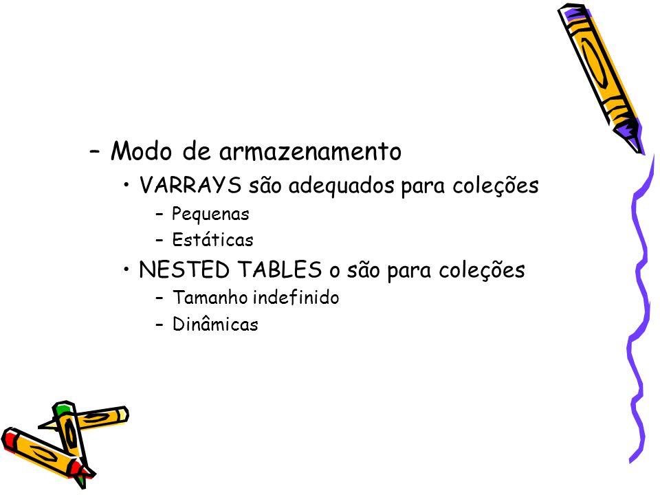 DECLARE TYPE Equipe IS VARRAY(20) OF Empregado; FUNCTION novos_contratados (data_contrato DATE) RETURN Equipe IS...