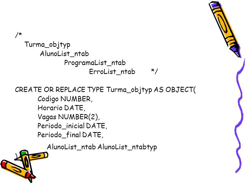 /* Turma_objtyp AlunoList_ntab ProgramaList_ntab ErroList_ntab */ CREATE OR REPLACE TYPE Turma_objtyp AS OBJECT( Codigo NUMBER, Horario DATE, Vagas NU