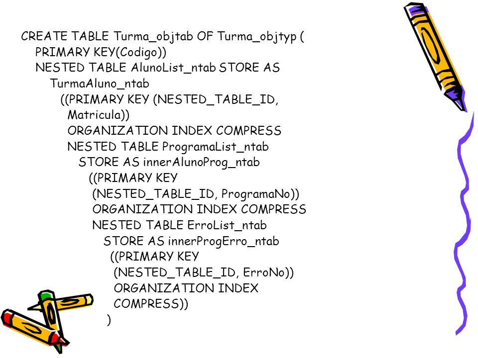 CREATE TABLE Turma_objtab OF Turma_objtyp ( PRIMARY KEY(Codigo)) NESTED TABLE AlunoList_ntab STORE AS TurmaAluno_ntab ((PRIMARY KEY (NESTED_TABLE_ID, Matricula)) ORGANIZATION INDEX COMPRESS NESTED TABLE ProgramaList_ntab STORE AS innerAlunoProg_ntab ((PRIMARY KEY (NESTED_TABLE_ID, ProgramaNo)) ORGANIZATION INDEX COMPRESS NESTED TABLE ErroList_ntab STORE AS innerProgErro_ntab ((PRIMARY KEY (NESTED_TABLE_ID, ErroNo)) ORGANIZATION INDEX COMPRESS)) )