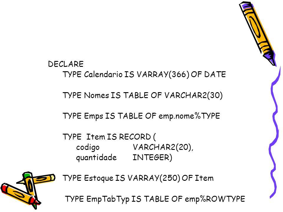 Manipulando Coleções – Função TABLE BEGIN INSERT INTO TABLE(SELECT d.cursos FROM departamento d WHERE d.nome = 'Línguas') VALUES(1234, 'Inglês Instrumental', 4); END; DECLARE ajuste INTEGER DEFAULT 1; BEGIN UPDATE TABLE(SELECT cursos FROM departamento WHERE nome = 'Psicologia') c SET c.creditos = c.creditos + ajuste WHERE c.n_curso IN (2200, 3540); END;
