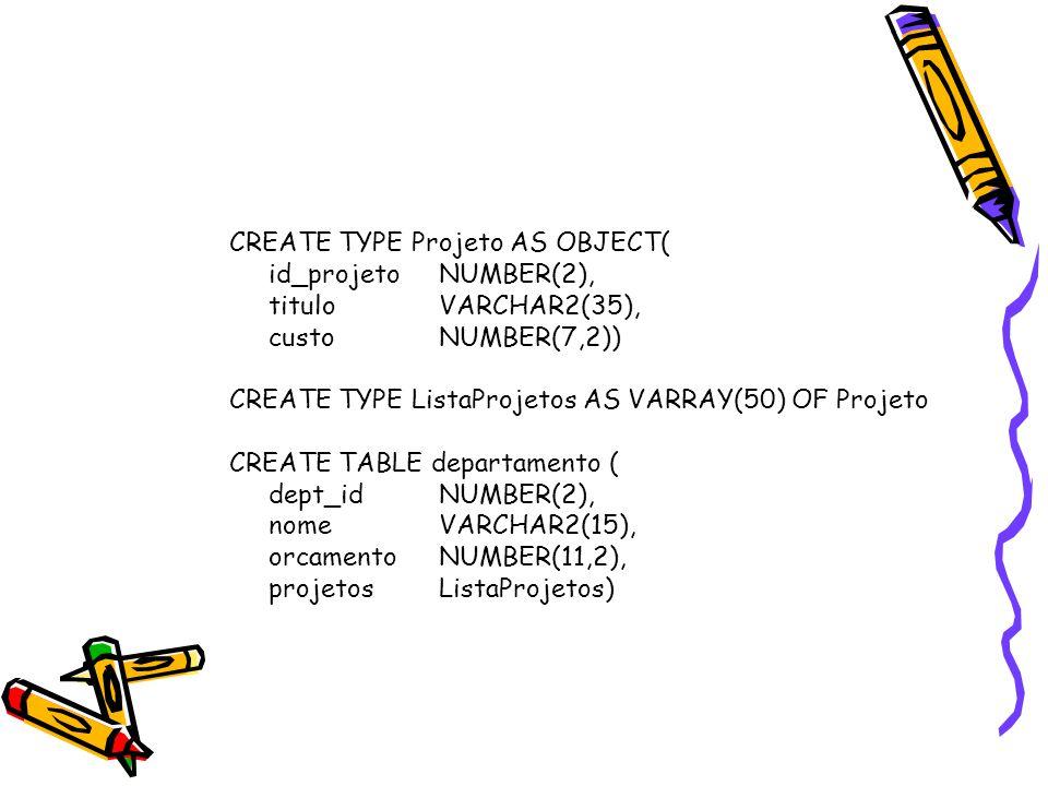 Manipulando Coleções de BD SQL> CREATE TYPE Curso AS OBJECT ( 2 n_curso NUMBER(4), 3 titulo VARCHAR2(35), 4 creditos NUMBER(1)); SQL> CREATE TYPE ListaCursos AS TABLE OF Curso; SQL> CREATE TABLE departamento ( 2 nome VARCHAR2(20), 3 diretor VARCHAR2(20), 4 secretaria VARCHAR2(20), 5 cursos ListaCursos) 6 NESTED TABLE cursos STORE AS cursos_tab;