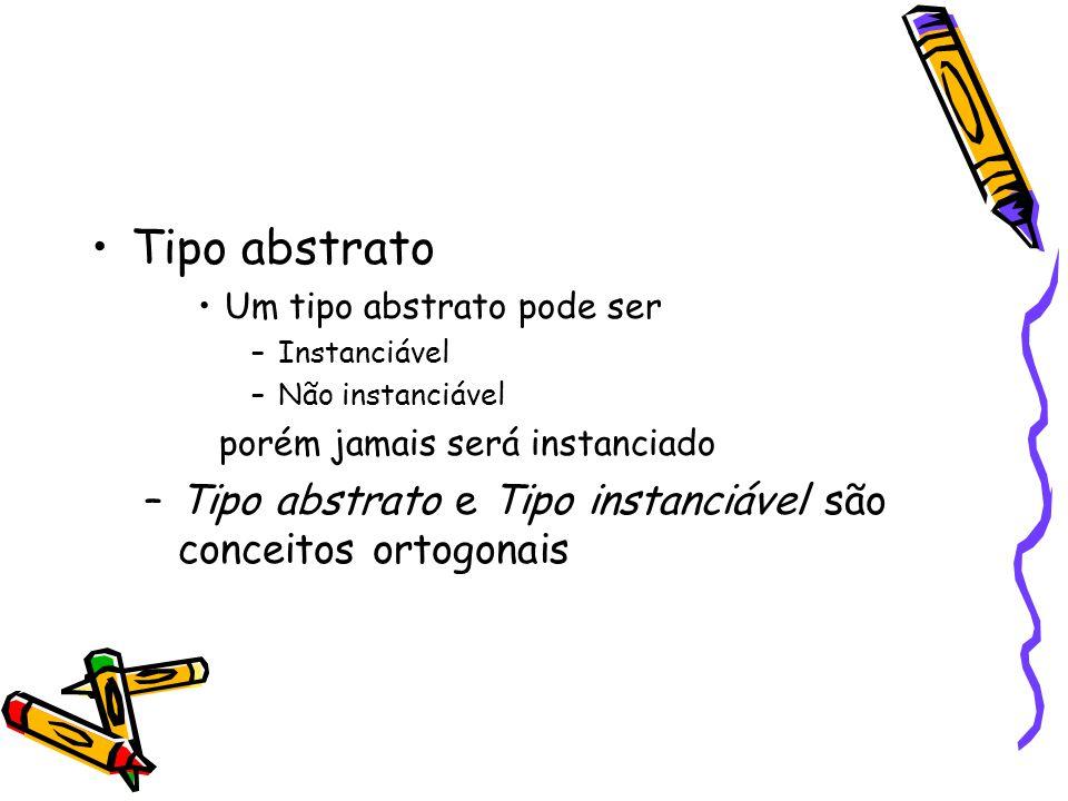 Tipo abstrato Um tipo abstrato pode ser –Instanciável –Não instanciável porém jamais será instanciado –Tipo abstrato e Tipo instanciável são conceitos ortogonais