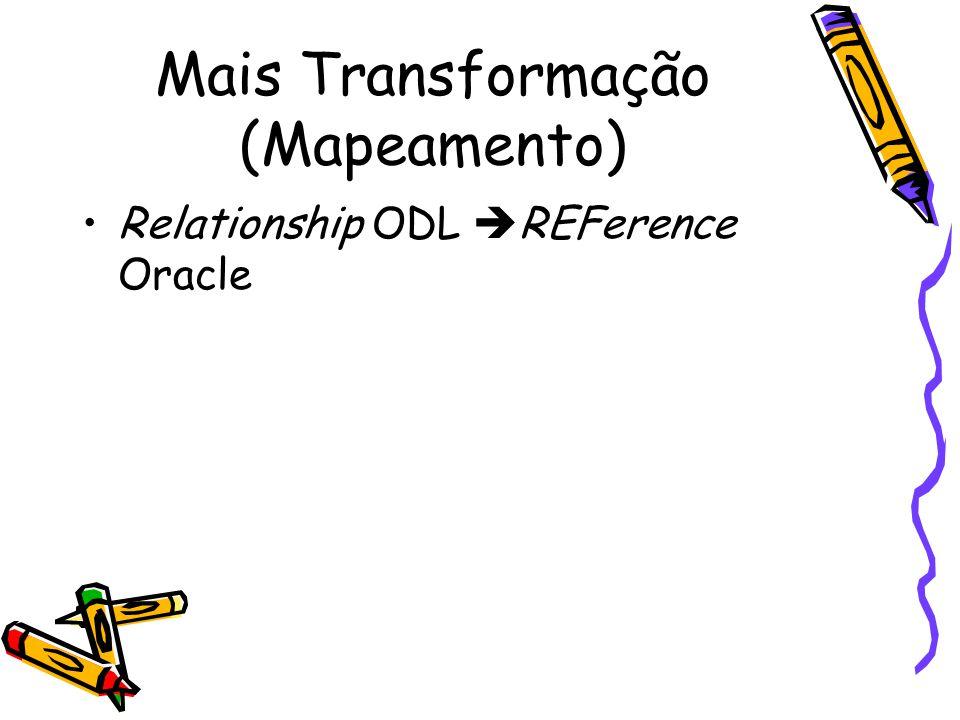 Mais Transformação (Mapeamento) Relationship ODL  REFerence Oracle