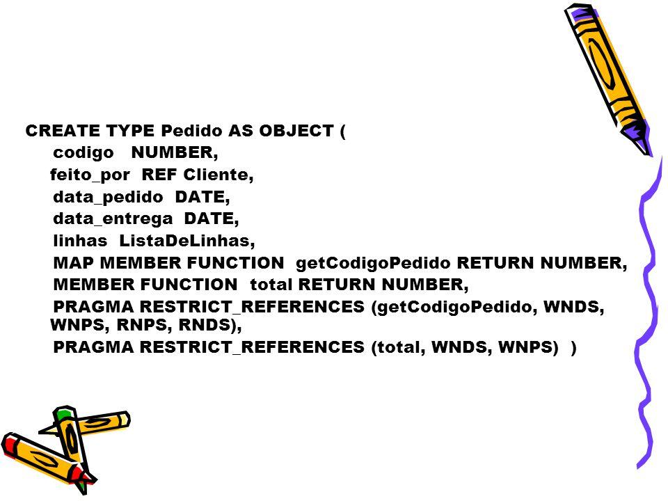 CREATE TYPE Pedido AS OBJECT ( codigo NUMBER, feito_por REF Cliente, data_pedido DATE, data_entrega DATE, linhas ListaDeLinhas, MAP MEMBER FUNCTION getCodigoPedido RETURN NUMBER, MEMBER FUNCTION total RETURN NUMBER, PRAGMA RESTRICT_REFERENCES (getCodigoPedido, WNDS, WNPS, RNPS, RNDS), PRAGMA RESTRICT_REFERENCES (total, WNDS, WNPS) )