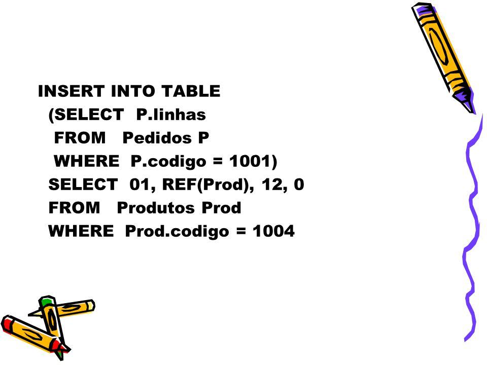 INSERT INTO TABLE (SELECT P.linhas FROM Pedidos P WHERE P.codigo = 1001) SELECT 01, REF(Prod), 12, 0 FROM Produtos Prod WHERE Prod.codigo = 1004