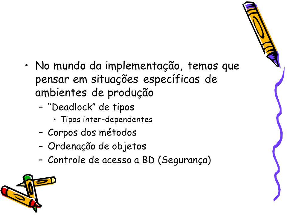 No mundo da implementação, temos que pensar em situações específicas de ambientes de produção – Deadlock de tipos Tipos inter-dependentes –Corpos dos métodos –Ordenação de objetos –Controle de acesso a BD (Segurança)