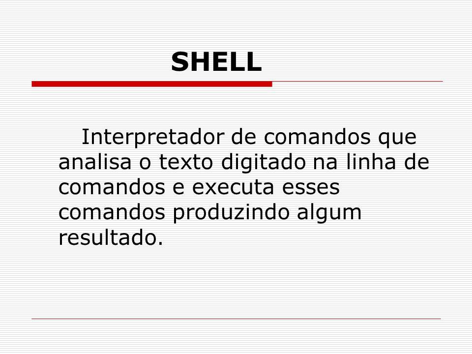 SHELL Interpretador de comandos que analisa o texto digitado na linha de comandos e executa esses comandos produzindo algum resultado.