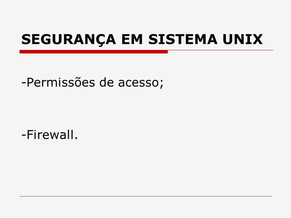 SEGURANÇA EM SISTEMA UNIX -Permissões de acesso; -Firewall.