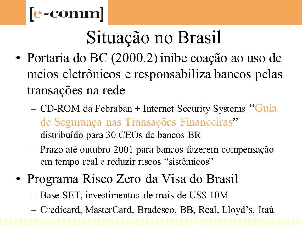 Situação no Brasil Portaria do BC (2000.2) inibe coação ao uso de meios eletrônicos e responsabiliza bancos pelas transações na rede –CD-ROM da Febraban + Internet Security Systems Guia de Segurança nas Transações Financeiras distribuído para 30 CEOs de bancos BR –Prazo até outubro 2001 para bancos fazerem compensação em tempo real e reduzir riscos sistêmicos Programa Risco Zero da Visa do Brasil –Base SET, investimentos de mais de US$ 10M –Credicard, MasterCard, Bradesco, BB, Real, Lloyd's, Itaú