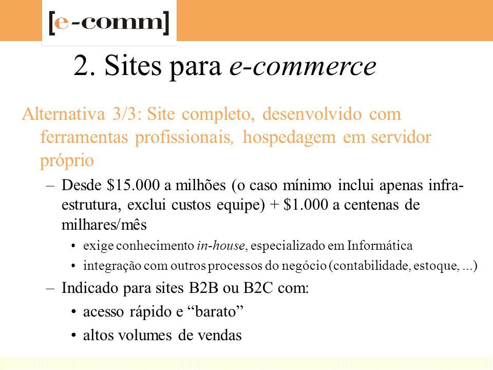 2. Sites para e-commerce Alternativa 3/3: Site completo, desenvolvido com ferramentas profissionais, hospedagem em servidor próprio –Desde $15.000 a m