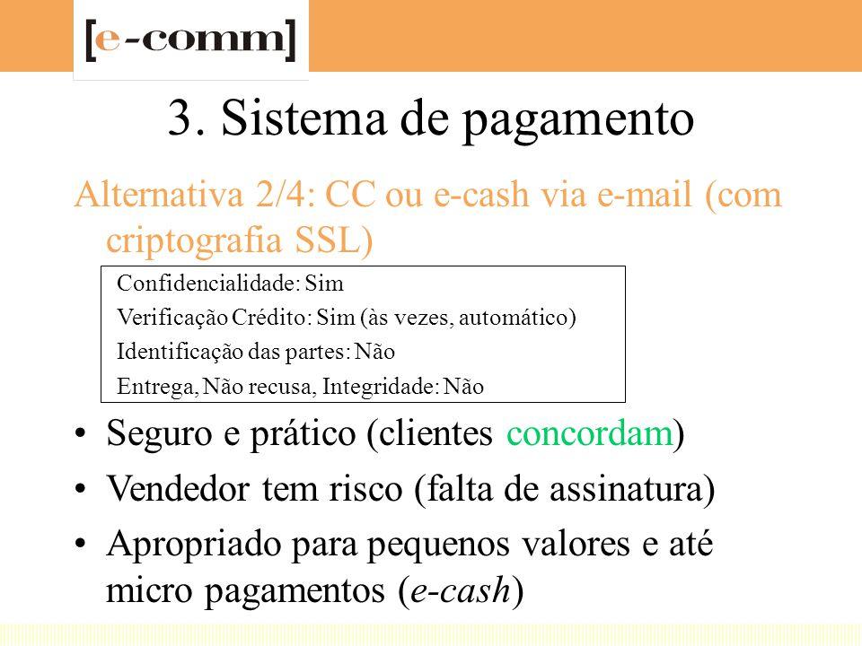 3. Sistema de pagamento Alternativa 2/4: CC ou e-cash via e-mail (com criptografia SSL) Confidencialidade: Sim Verificação Crédito: Sim (às vezes, aut