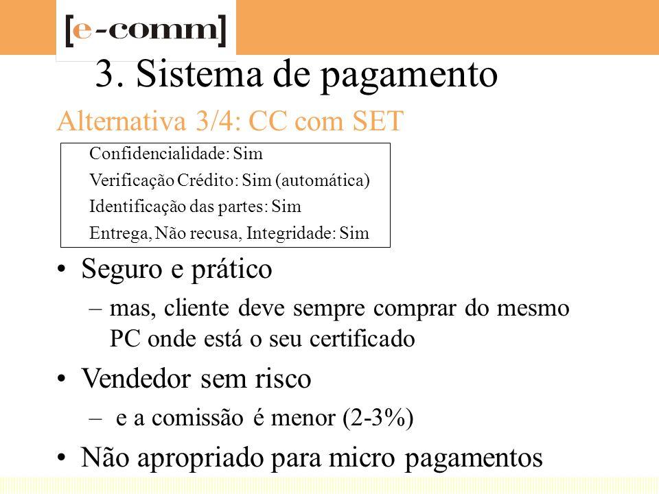3. Sistema de pagamento Alternativa 3/4: CC com SET Confidencialidade: Sim Verificação Crédito: Sim (automática) Identificação das partes: Sim Entrega