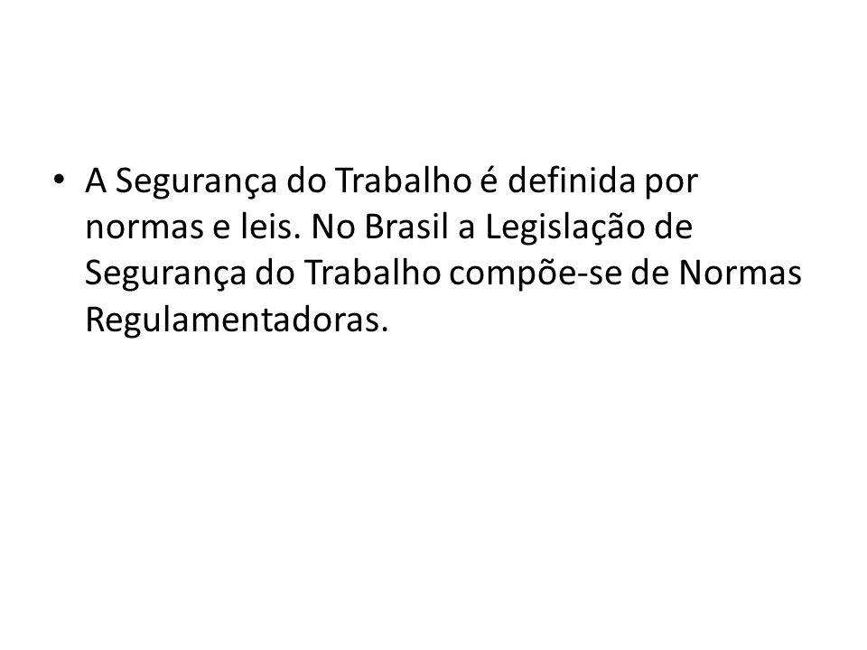 A Segurança do Trabalho é definida por normas e leis. No Brasil a Legislação de Segurança do Trabalho compõe-se de Normas Regulamentadoras.