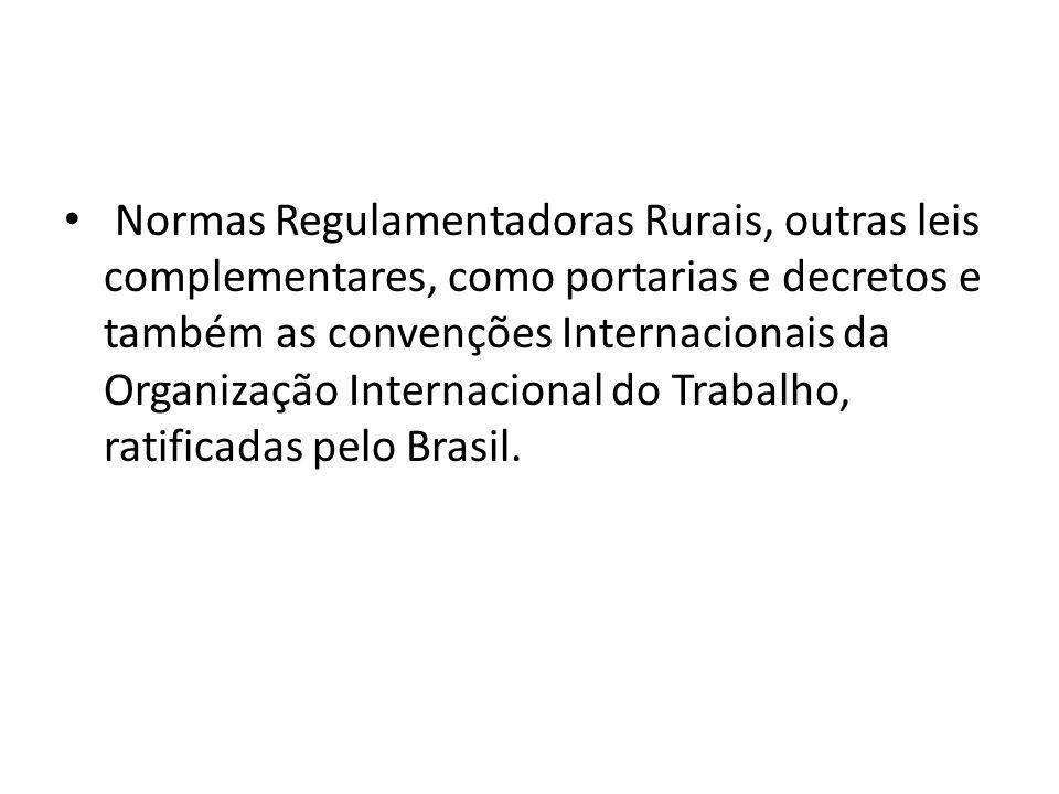 Normas Regulamentadoras Rurais, outras leis complementares, como portarias e decretos e também as convenções Internacionais da Organização Internacion