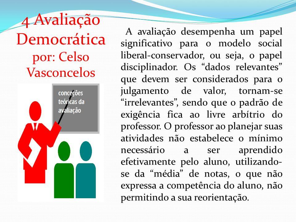 4 Avaliação Democrática por: Celso Vasconcelos A avaliação desempenha um papel significativo para o modelo social liberal-conservador, ou seja, o papel disciplinador.