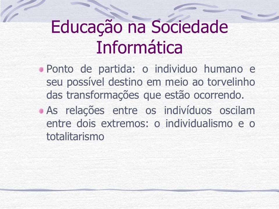 Educação na Sociedade Informática Ponto de partida: o individuo humano e seu possível destino em meio ao torvelinho das transformações que estão ocorr