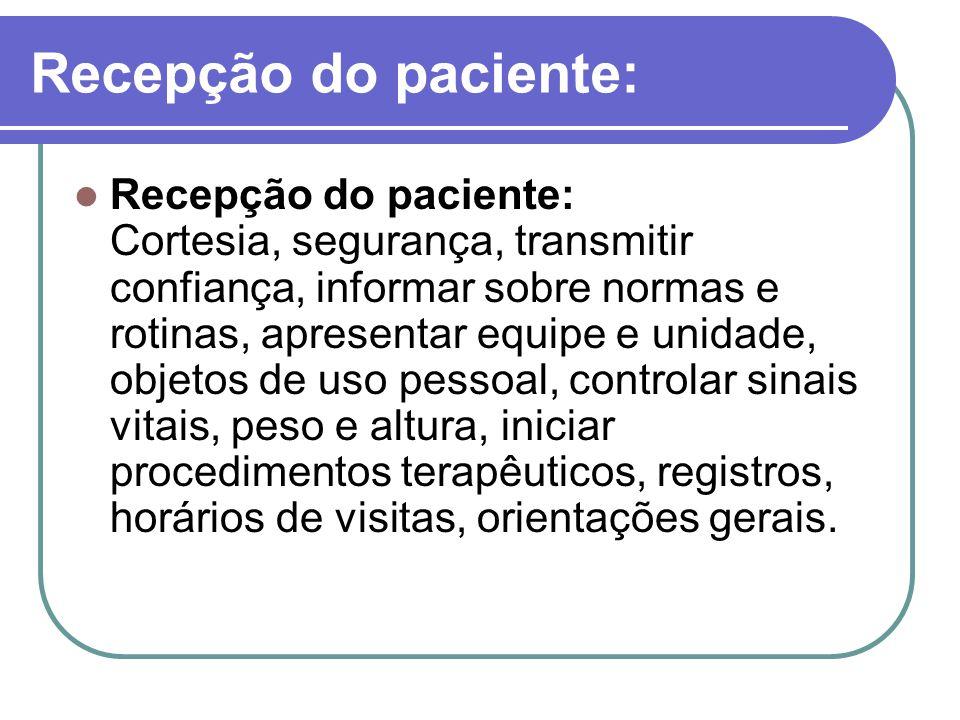 Recepção do paciente: Recepção do paciente: Cortesia, segurança, transmitir confiança, informar sobre normas e rotinas, apresentar equipe e unidade, o