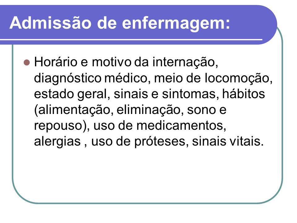 Admissão de enfermagem: Horário e motivo da internação, diagnóstico médico, meio de locomoção, estado geral, sinais e sintomas, hábitos (alimentação,