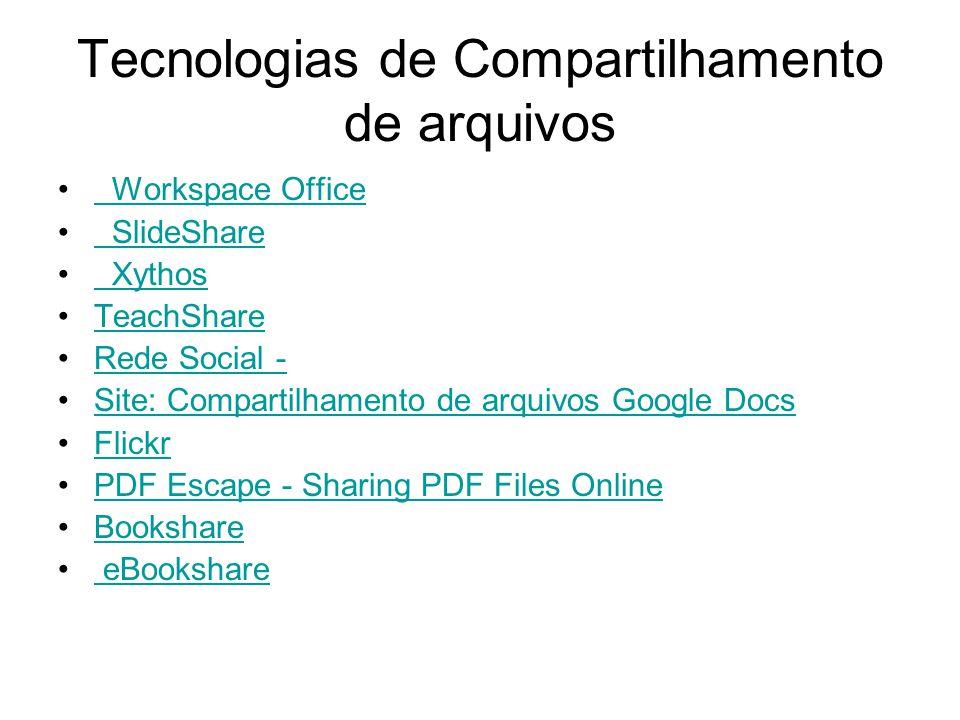 Tecnologias de Compartilhamento de arquivos Workspace Office SlideShare Xythos TeachShare Rede Social - Site: Compartilhamento de arquivos Google Docs Flickr PDF Escape - Sharing PDF Files Online Bookshare eBookshare