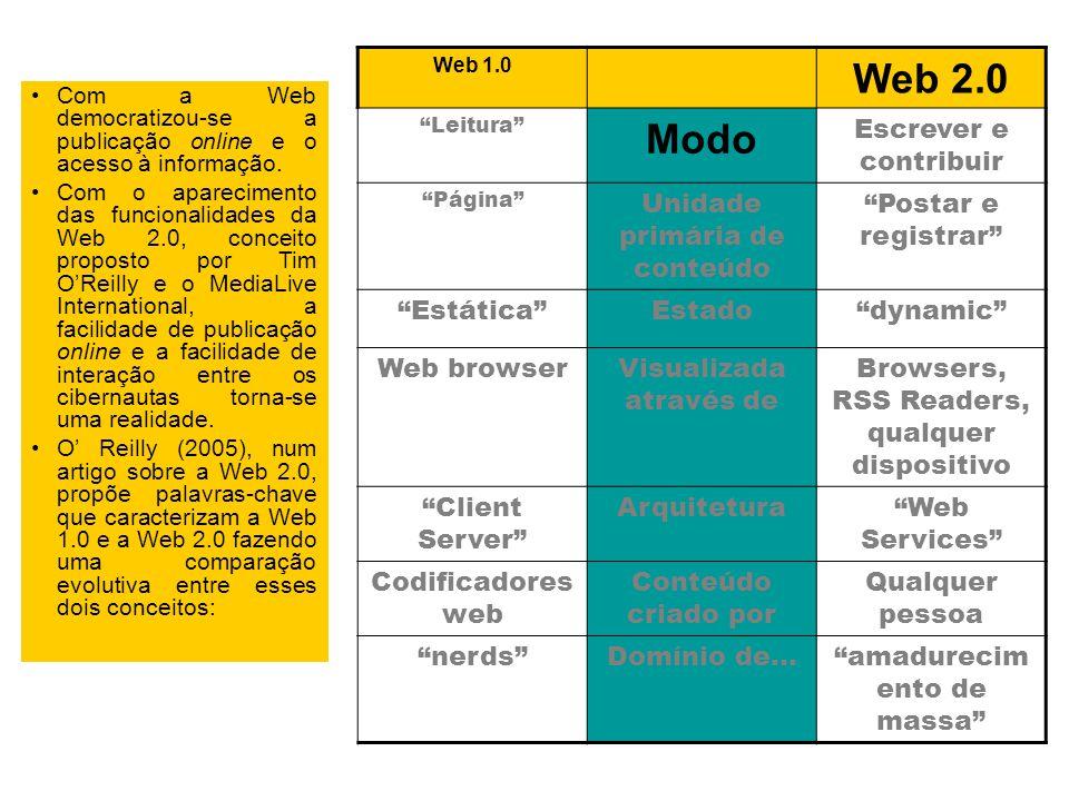 Com a Web democratizou-se a publicação online e o acesso à informação.
