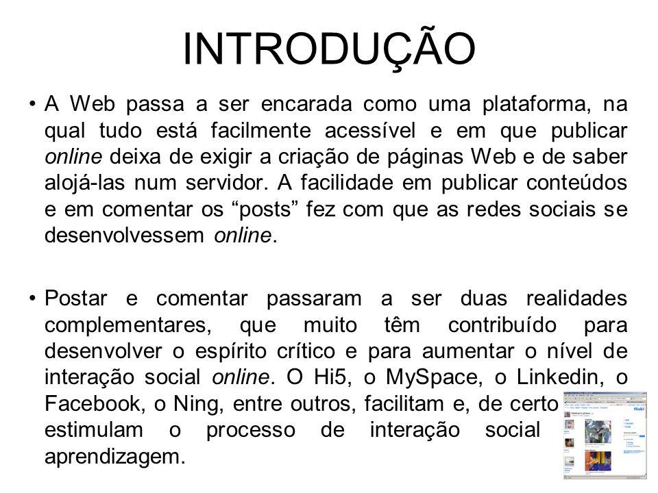 INTRODUÇÃO A Web passa a ser encarada como uma plataforma, na qual tudo está facilmente acessível e em que publicar online deixa de exigir a criação de páginas Web e de saber alojá-las num servidor.