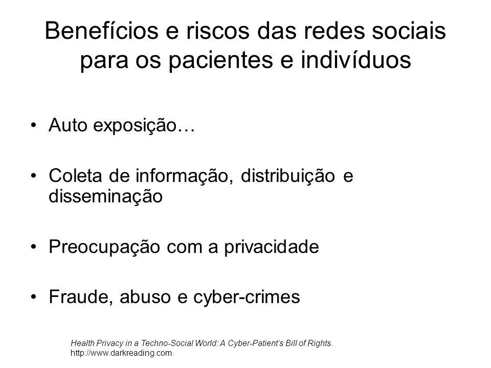 Benefícios e riscos das redes sociais para os pacientes e indivíduos Auto exposição… Coleta de informação, distribuição e disseminação Preocupação com a privacidade Fraude, abuso e cyber-crimes Health Privacy in a Techno-Social World: A Cyber-Patient's Bill of Rights.