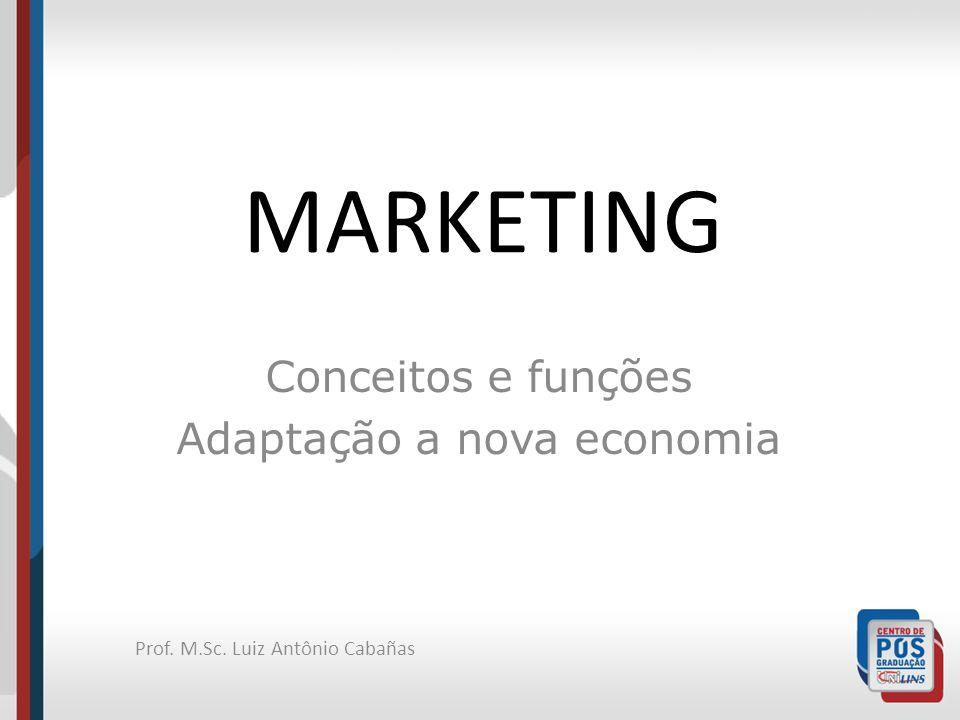 Prof. M.Sc. Luiz Antônio Cabañas MARKETING Conceitos e funções Adaptação a nova economia