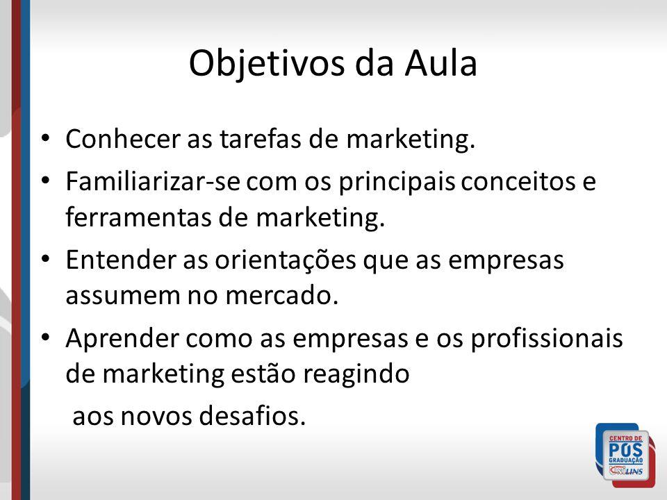 Objetivos da Aula Conhecer as tarefas de marketing.