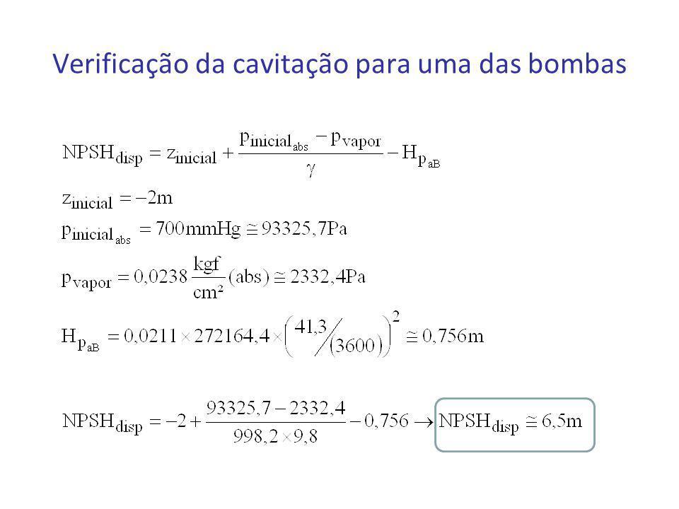 Verificação da cavitação para uma das bombas