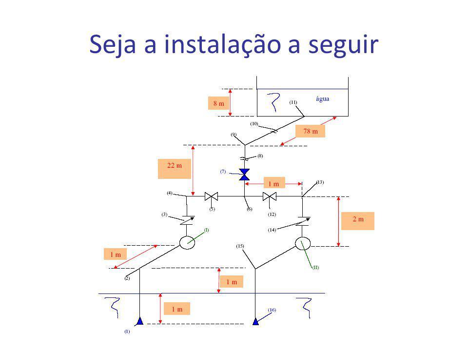 (1) e (16) - válvulas de pé com crivo (2), (4), (9), (13) e (15) - joelhos de 90 0 (3) e (14) - válvulas de retenção vertical (5) e (12) - válvulas gavetas 6) - tê (7) - válvula globo reta sem guia (8) e (10) - representação de corte no desenho da tubulação (11) - entrada normal (I) e (II) - bombas centrífugas radiais