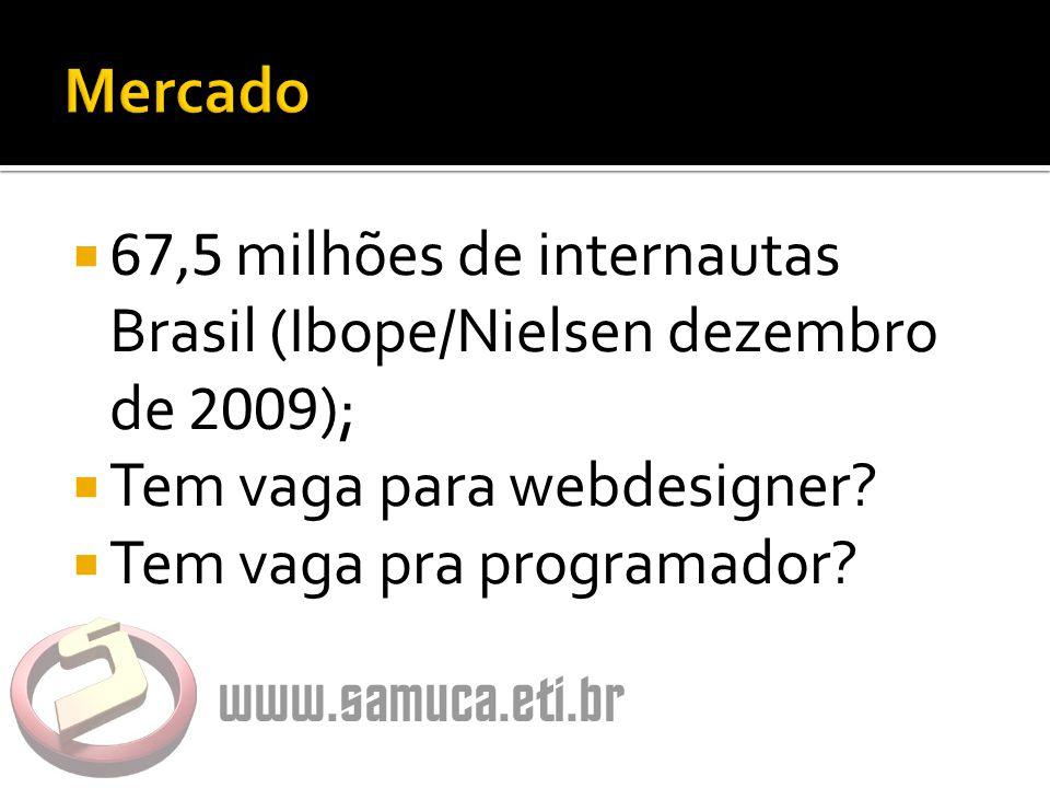  67,5 milhões de internautas Brasil (Ibope/Nielsen dezembro de 2009 );  Tem vaga para webdesigner.