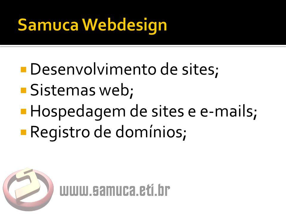  Desenvolvimento de sites;  Sistemas web;  Hospedagem de sites e e-mails;  Registro de domínios;