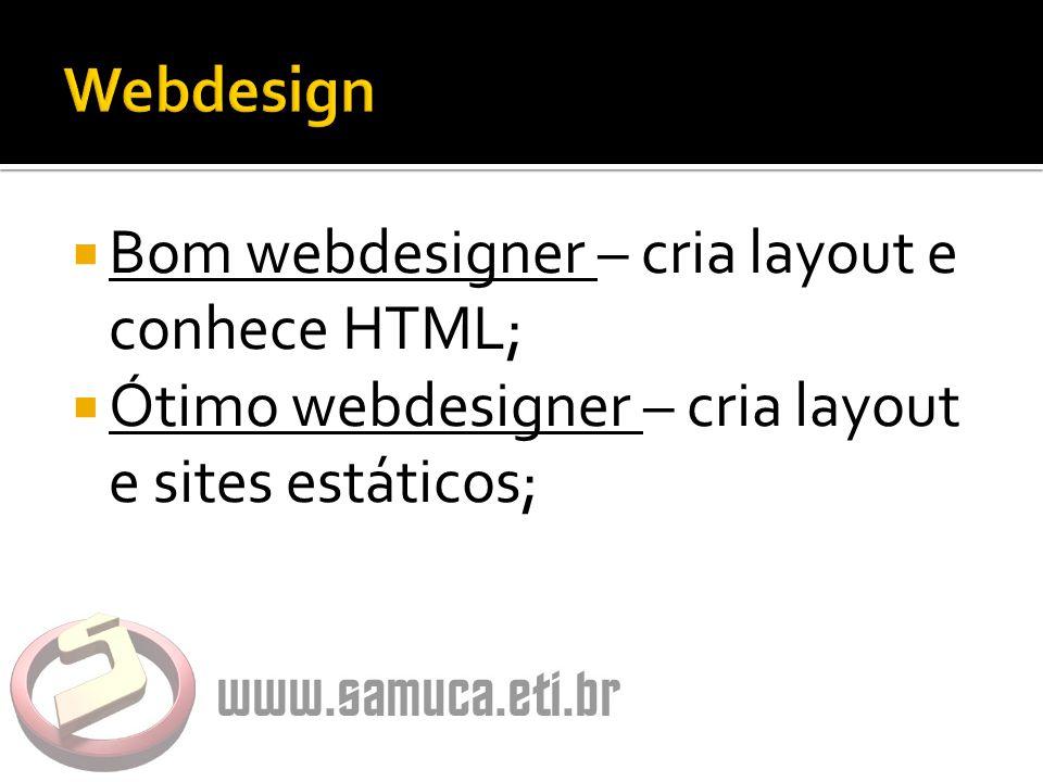  Bom webdesigner – cria layout e conhece HTML;  Ótimo webdesigner – cria layout e sites estáticos;