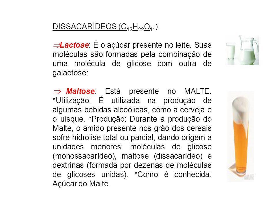 DISSACARÍDEOS (C 12 H 22 O 11 ).  Lactose: É o açúcar presente no leite. Suas moléculas são formadas pela combinação de uma molécula de glicose com o
