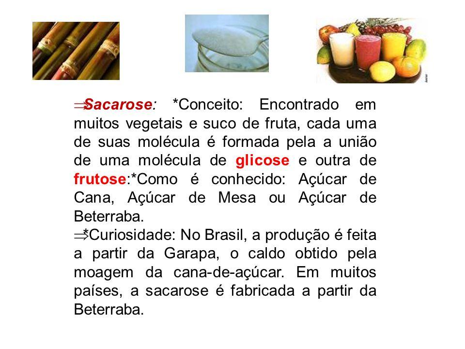  Sacarose: *Conceito: Encontrado em muitos vegetais e suco de fruta, cada uma de suas molécula é formada pela a união de uma molécula de glicose e ou