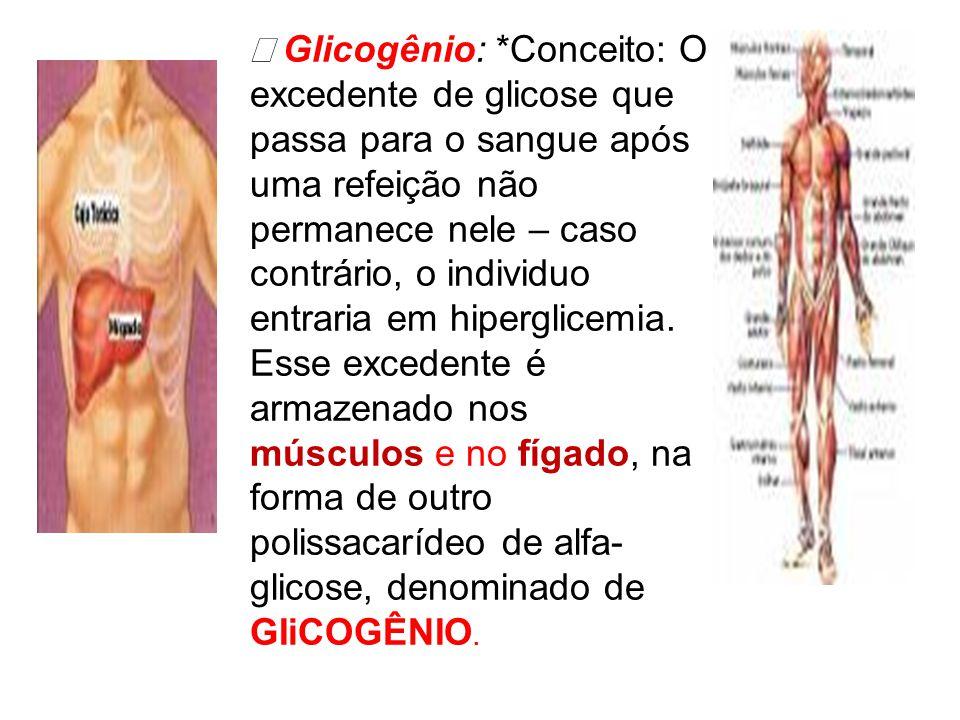  Glicogênio: *Conceito: O excedente de glicose que passa para o sangue após uma refeição não permanece nele – caso contrário, o individuo entraria em