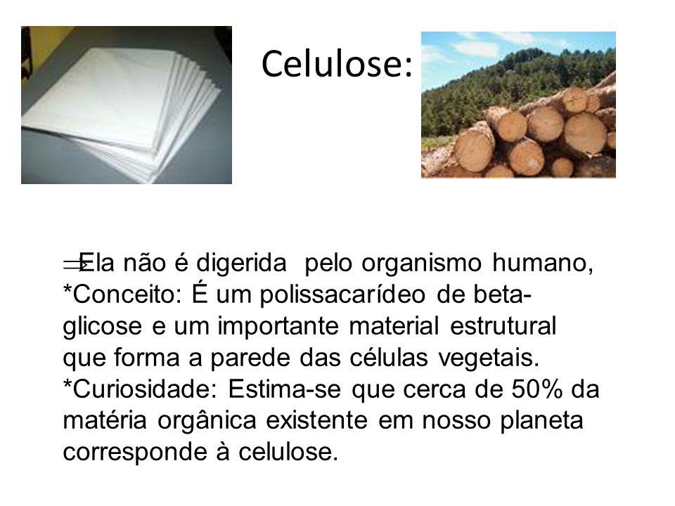  Ela não é digerida pelo organismo humano, *Conceito: É um polissacarídeo de beta- glicose e um importante material estrutural que forma a parede das
