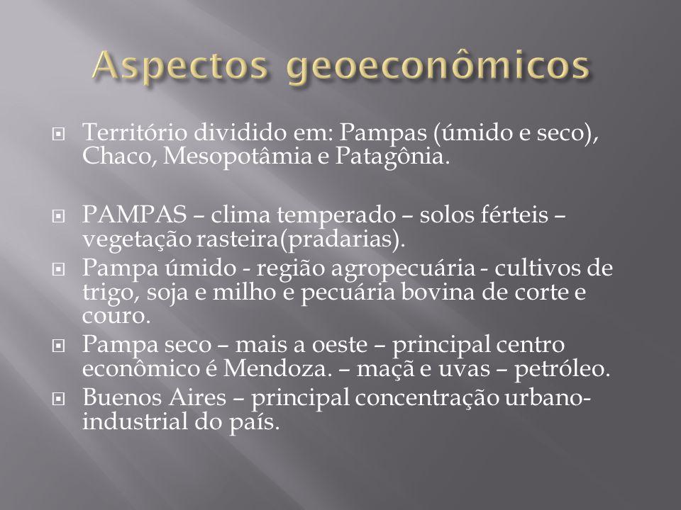  Território dividido em: Pampas (úmido e seco), Chaco, Mesopotâmia e Patagônia.  PAMPAS – clima temperado – solos férteis – vegetação rasteira(prada