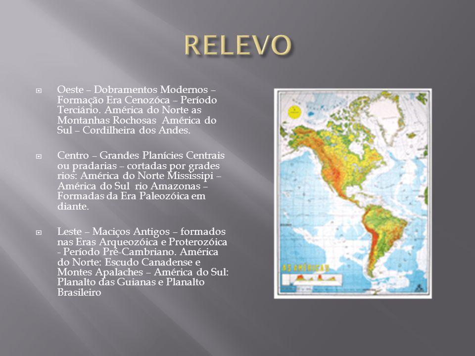  Oeste – Dobramentos Modernos – Formação Era Cenozóca – Período Terciário. América do Norte as Montanhas Rochosas América do Sul – Cordilheira dos An