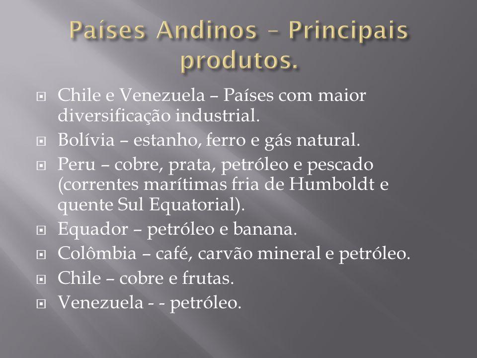  Chile e Venezuela – Países com maior diversificação industrial.  Bolívia – estanho, ferro e gás natural.  Peru – cobre, prata, petróleo e pescado
